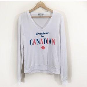 Wildfox French Me Im Canadian Fleece Sweater New
